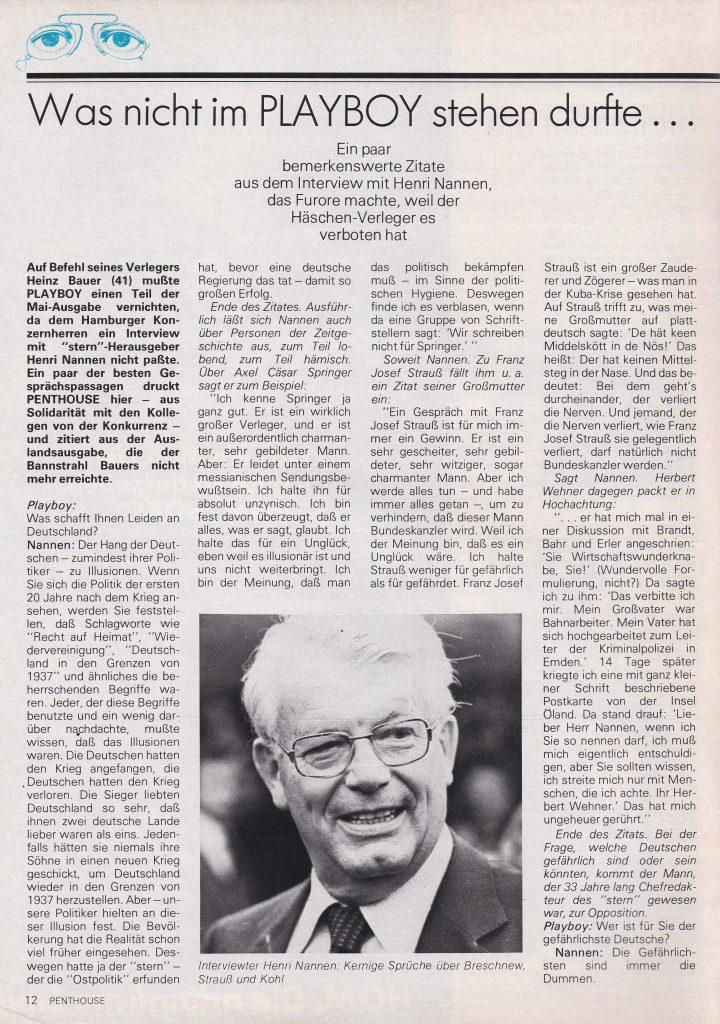 Original Playboy Magazin ab 1956: Das Konkurrenz Blatt, das Penthouse Magazin, berichtete natürlich auch über die legändäre Ausgabe. Diese ist zu bestellen unter info@presse-antiquariat.de