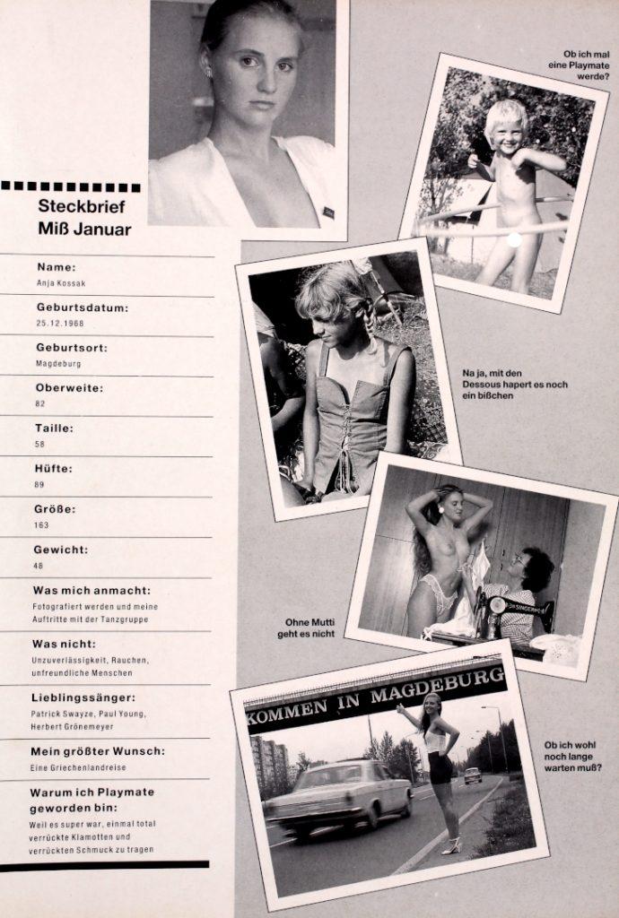 Steckbrief von Anja Kossak, dem ersten DDR Playmate im Playboy Januar 1990