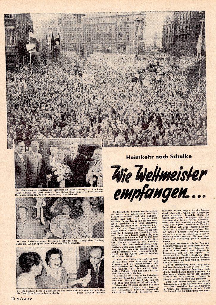 Schalke Meisterschaftsfeier 1958 auf dem Bahnhofsvorplatz