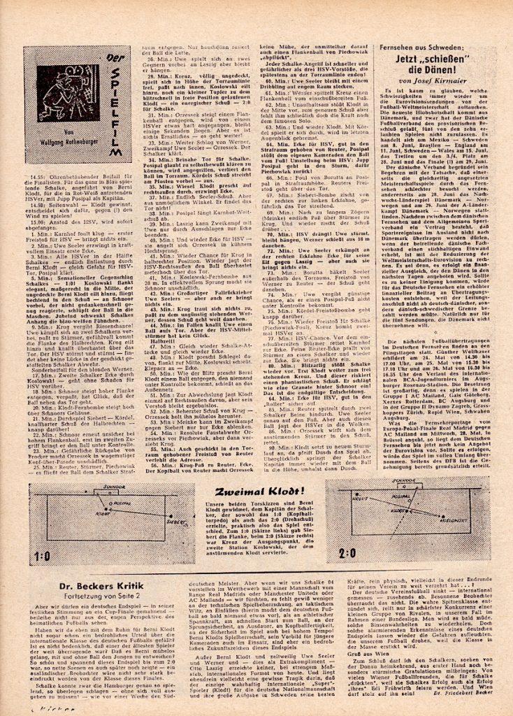 Spielfilm zur Deutschen Meisterschaft 1958 von FC Schalke 04