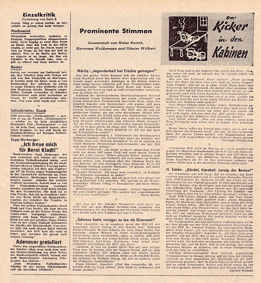 Prominente Stimmen zum Endspiel 1958