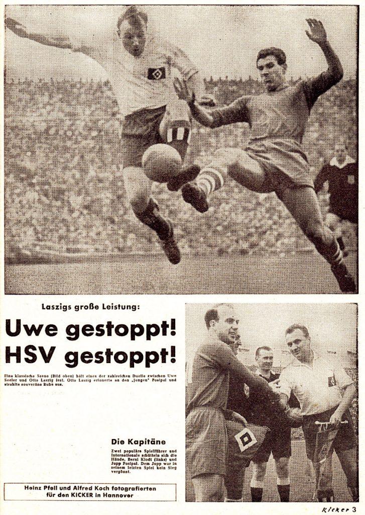 1958 Laszigs große Leistung! Uwe Seeler gestoppt! Hamburger SV gestoppt!
