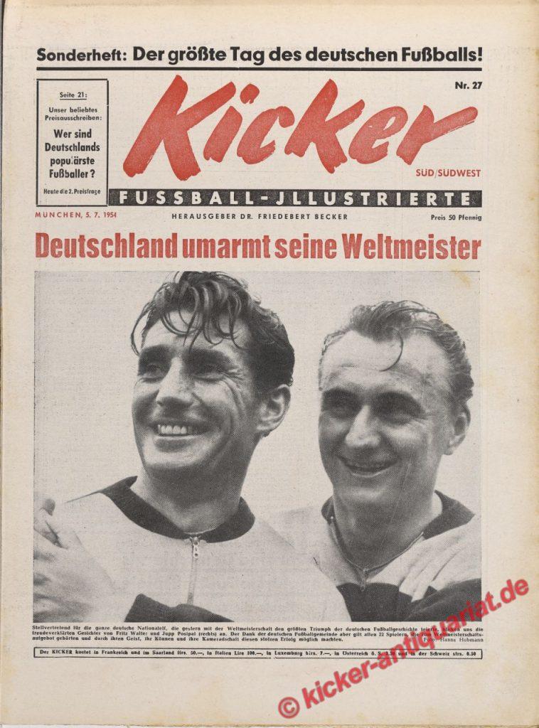 Zeitung 70. Geburtstag. Fußball-WM 1954
