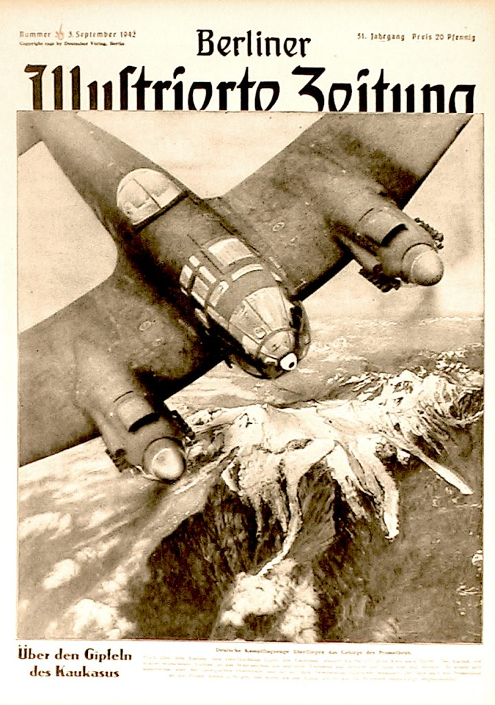 Nationalsozialismus, Zeitung von 1942: Deutsche Kampfflugzeuge über dem Kaukasus