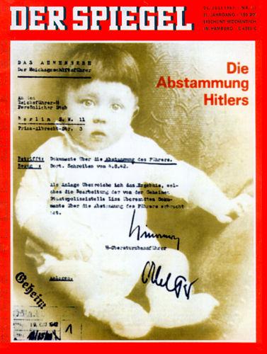 Der Spiegel Cover: Abstammung Hitlers.