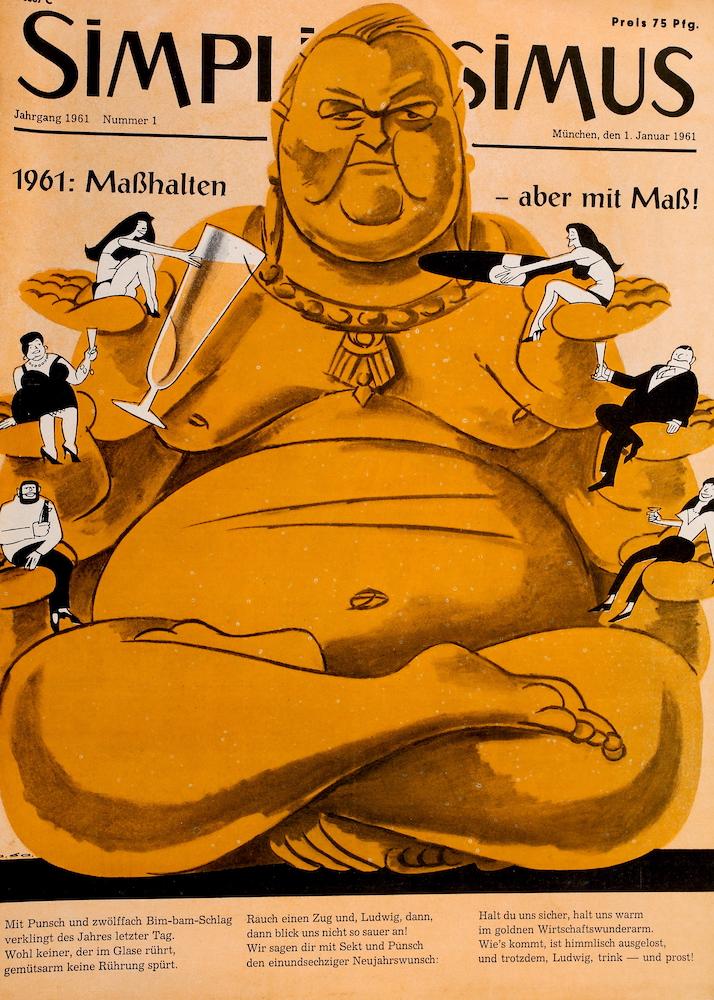Archiv: Simplicissimus mit Vizekanzler Ludwig Erhard als Buddha