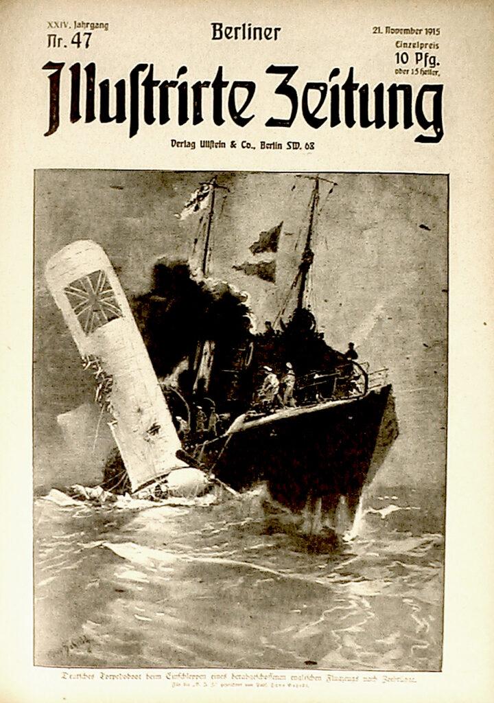 """Berliner Illustrirte Zeitung 21.11.1915: Deutsches Torpedoboot beim Einschleppen eines herab geschossenen englischen Flugzeugs nach Zeebrügge. Für die """"B. I. Z."""" gezeichnet von Prof. Hans Bohrdt."""