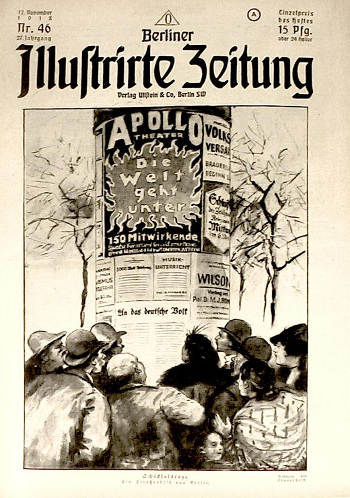 Berliner Illustrirte Zeitung 17.11.1918: Schicksalstage. Ein Straßenbild aus Berlin. Zeichnung von Edmund Fürst.