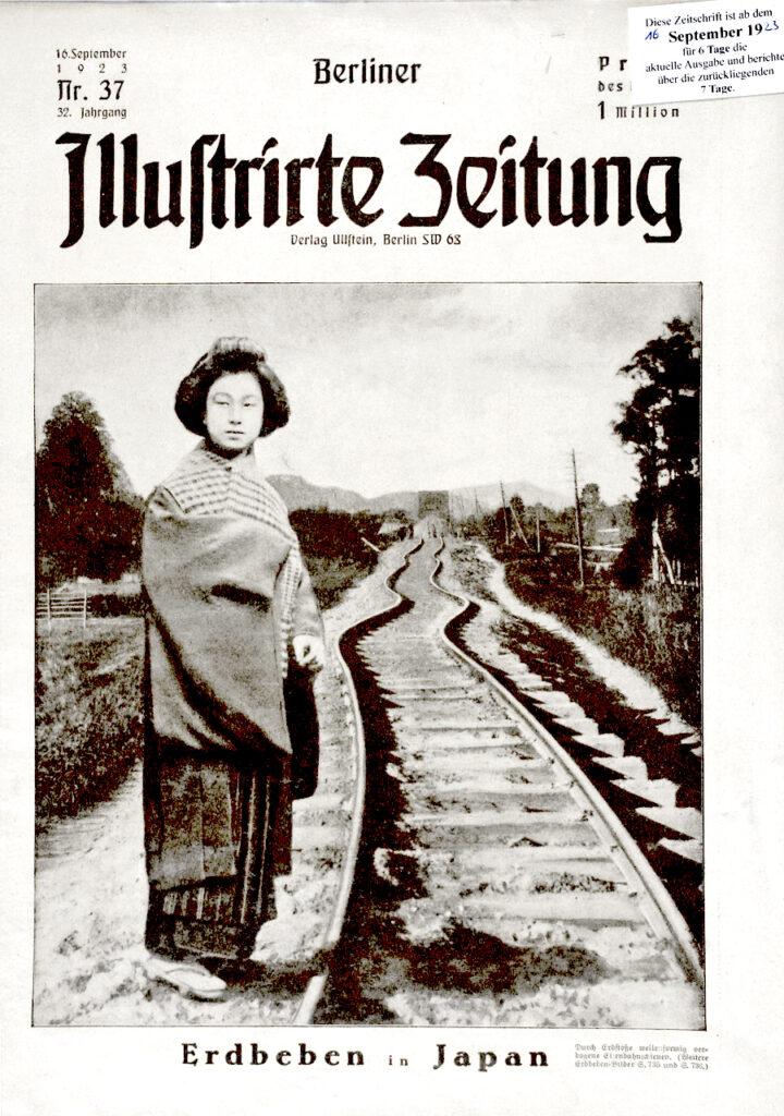 Berliner Illustrirte Zeitung 16.9.1923: Erdbeben in Japan. Durch Erdstöße wellenförmige verbogene Eisenbahnschienen.
