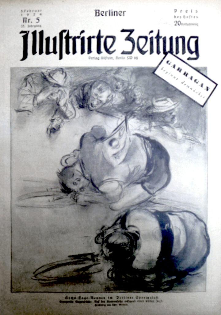 Berliner Illustrirte Zeitung 3.2.1924: Sechs-Tage-Rennen im Berliner Sportpalast. Erregende Augenblicke: Auf der Kurvenhöhe während einer wilden Jagd. Zeichnung von Theo Matejko.