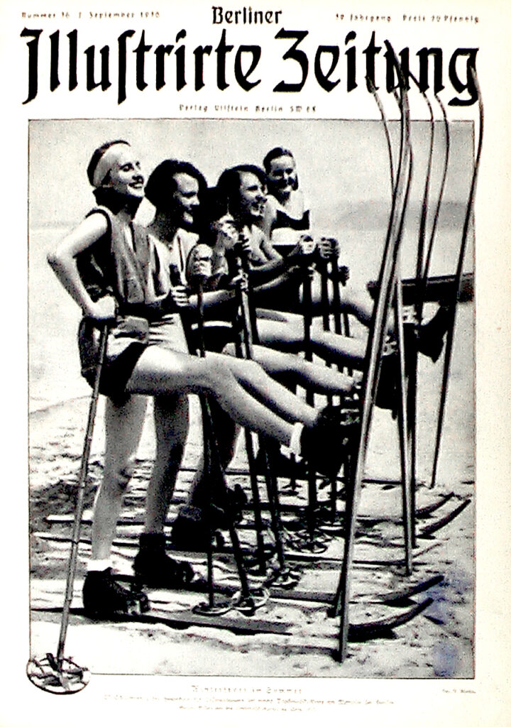 Berliner Illustrirte Zeitung 7.9.1930: Ski-Schülerinnen der Hochschule für Leibesübungen bei einem Trocken-Ski-Kurs am Wannsee bei Berlin. Fot. S. Muska.