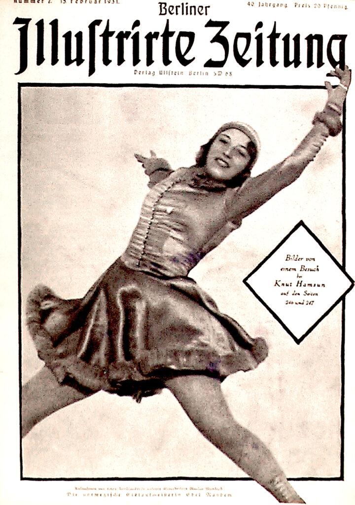 Berliner Illustrirte Zeitung, 15.2.1931: Die norwegische Eislaufmeisterin Edel Randem. Aufnahmen von Martin Munkacsi