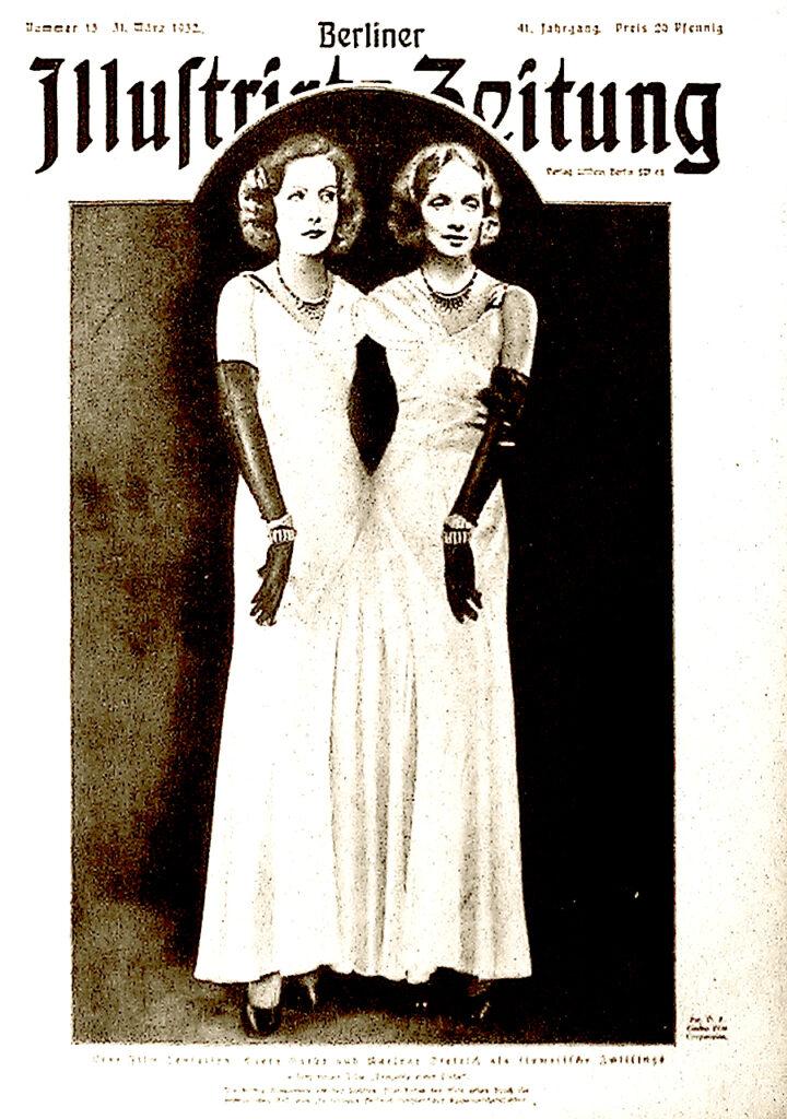 Berliner Illustrirte Zeitung, 31.3.1932: Eine Film-Sensation: Greta Garbo und Marlene Dietrich als siamesische Zwillinge