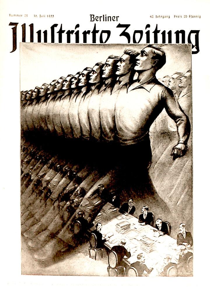 Berliner Illustrirte Zeitung, 16.7.1933: Europas Jugend schreitet über die Konferenztische hinweg zu neuer Arbeit. Zeichnung von Th. Girod